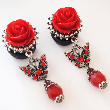 Red Butterfly 5/8 inch 16mm Dangle Plugs For by Glamsquared