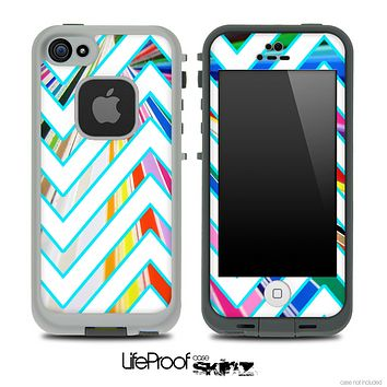 Large Chevron and Color Striped V3 Skin for the iPhone 5 or 4/4s LifeProof Case