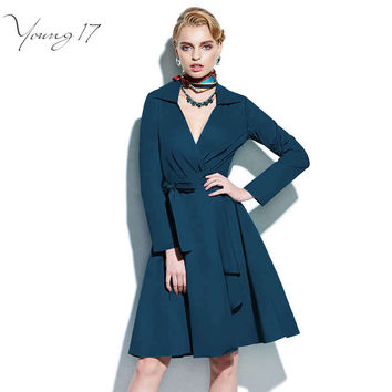 Young17 Vintage 1950s Skater Dress V Neck Turn Down Collar A line Party Dresses Elegant Vintage Long Sleeve Dress with Sashes