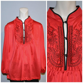 Vintage 1970's Red and Black Asian Inspired Top Long Sleeve Blouse Collectibles by JCPenney Tunic Shirt Embroidered Size Large Flowy Top