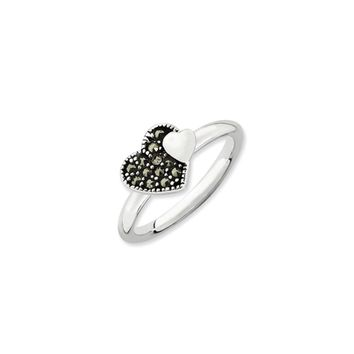 2.25mm Sterling Silver Stackable Marcasite Heart Ring