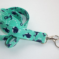 Fabric Lanyard  ID Badge Holder - Lobster clasp and key ring - mint, navy and white anchors whales -   two toned double sided
