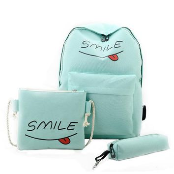 3PCS!! Awesome SMILE Canvas Backpack/Pencil Pouch/Shoulder Bag Light Blue