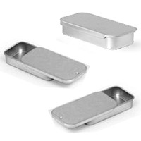 Metal Slide Top Tin Containers (small) for Crafts Geocache Storage Survival Kit By MagnaKoys (pack of 3)