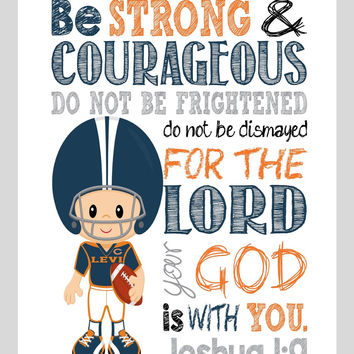Chicago Bears Customized Christian Sports Nursery Decor Art Print - Be Strong & Courageous Joshua 1:9 Bible Verse - Playroom or Kid's Room