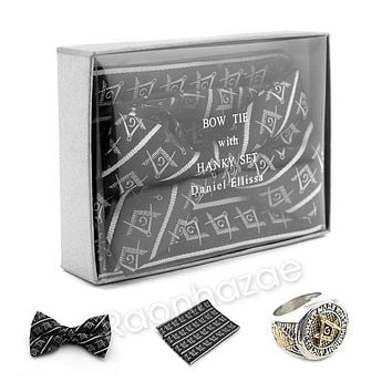 MENS MASONIC FREEMASON LODGE ATTIRE BOW TIE SILVER COMPASS HANKY SET W/ RING S1