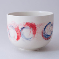 Ceramic cup with abstract red blue painting / Hand painted ceramic cup / Stoneware cup / Tea cup / READY TO SHIP