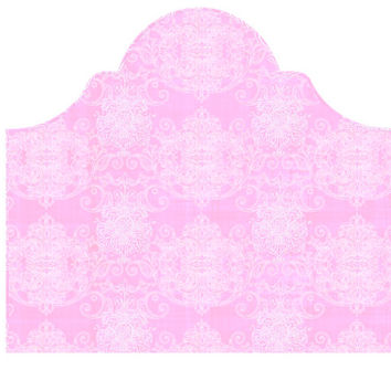 Wall Decal Headboard - Swirly Damask - Pink and White - Twin Lite version Headboard