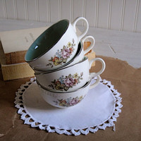 Shabby Chic Tea Cups Vintage Floral by scarletbegoniavntg on Etsy