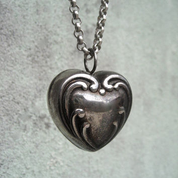 Sterling Silver Large Heart Necklace - Extra Long Necklace - 1930's - Antique Baby Rattle Repurposed