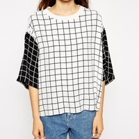 ASOS T-Shirt with Contrast Grid Print - Multi