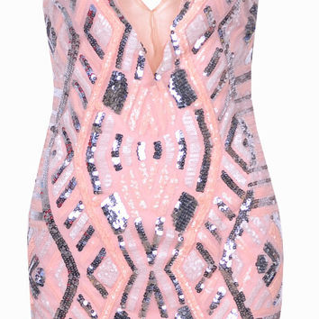 Printed Sleeveless V-neck Mini Bodycon Dress