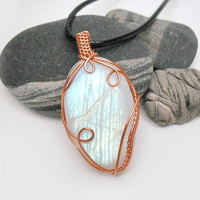 OOAK Moonstone necklace, wire wrapped rainbow moonstone, coated copper wire wrap, leather necklace, unique necklace for women