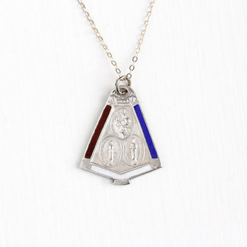 Vintage Sterling Silver Religious Medal Pendant Necklace - WWII Military Enamel Mary Jesus & St. Christopher Catholic Call a Priest Jewelry