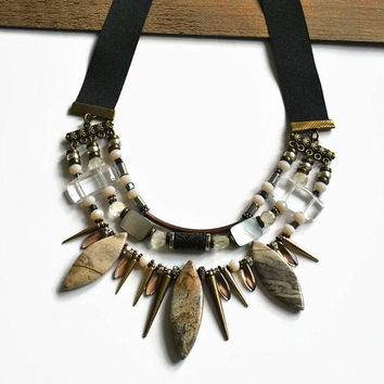 Black collar necklace Jasper necklace Statement stone unique Trendy jewelry Stone spike necklace Black necklace for girls Black necklace bib