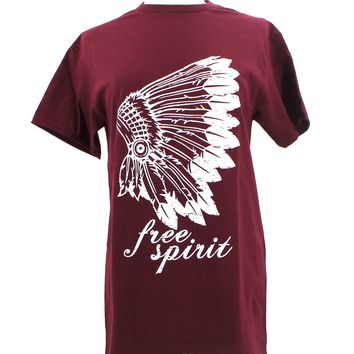 Free Spirit Native American Feather Headdress Native Indian T Shirt