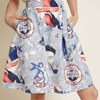 Lively Vibe Cotton A-Line Skirt in Nautical