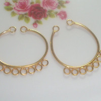 24K Vermeil Sterling Silver 9 Loops Chandelier, Connector, Earring Findings - 2 pcs, 27x24.5x1mm, C5C