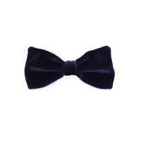 navy velour hair bow