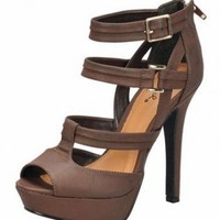 BROWN TRIPLE STRAPS SANDAL @ KiwiLook fashion