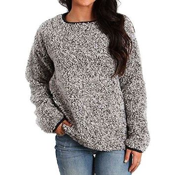 Dylan by True Grit Women's Solid Frosty Tipped Pile Plush Stadium Pullover w/Pockets, Charcoal, XS