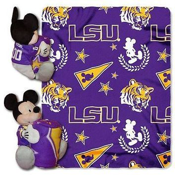 "LSU TIGERS 40""X50"" DISNEY MICKEY MOUSE HUGGER PILLOW & THROW BLANKET SET NEW"
