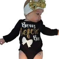 "2Pcs Newborn Baby Girl ""Bows Before Bros"" Clothing Set"