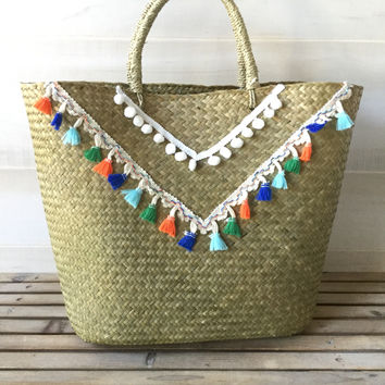 Woven Tassel and Pom Pom Beach Bag