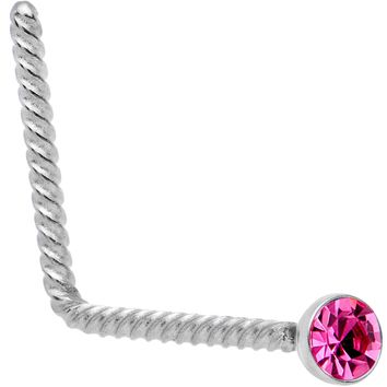 Pink 2mm Gem Inlay So Twisted L Shaped Nose Ring