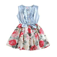 Floral Girls Summer Dresses Princess Kids Dresses For Girls Clothing 2-9yrs.
