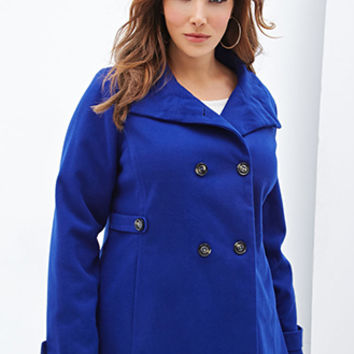 FOREVER 21 PLUS High-Neck Pea Coat Royal