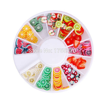 DIY Nail Art Decorations Fruit Slices 3D Polymer Clay Tiny Fimo Wheel Nail Art Rhinestones Acrylic Decoration Manicure