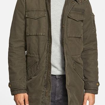 Men's Black Rivet Hooded Cotton Military Parka ,