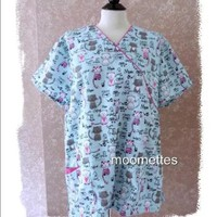 🎁 New Scrubs Medical Top Cats Extra Large NWT