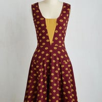 Vintage Inspired Long Sleeveless A-line Sailboat-load of Fun Dress in Buttons