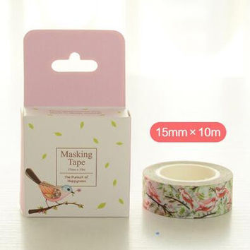 JE203 1.5CM Wide The Whisper of Flower Bird Washi Tape Adhesive Tape DIY Scrapbooking Sticker Label Masking Tape