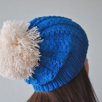Blue Cable Knit Beanie Hat with huge Pom Pom, Pom Pom Hat, Slouchy Beanie Hat