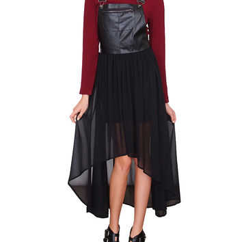 Magic Overall Dress - Black Leather