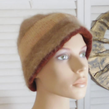 Cocoa Brown Tan Oatmeal Bucket Hat Fluffy Soft Helmet Floppy Short No Brim Brimmed Cloche Style Hat w Brim Stingy Jockey Style Knit Crochet