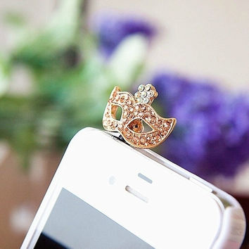 Cute Rhinestone Mask Dust Plug for iPhone 4 4s 5 5s = 1651422404