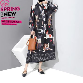 New 2018 Plus Size Women Black Dress Shirt Long Sleeves Cats Printed Mid Calf Length Girls Loose Casual Cotton Dress Style 3277