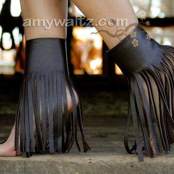 Fringe Ankle Boot Shoe Accessory CUFFS  Wear Over Heels, Boots, with Flip Flops, or Barefoot