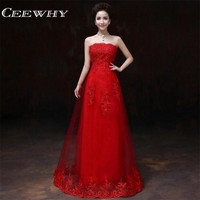 CEEWHY Chinese Style Strapless Lace Up Embroidery Floor Length Wedding Party Dress 2017 Women Formal Gown Red Bridesmaid Dresses