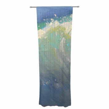 "Carol Schiff ""Caribbean Blue"" Blue Green Painting Decorative Sheer Curtain"