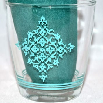 Vintage Glassware-Sour Cream-Hazel Atlas-Lace Medallion-Turquoise