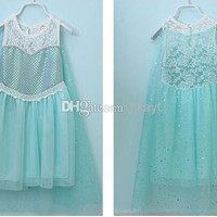 latest sleeveless Children's dress summer frozen dress Elsa lace Sequins Fantasy blue veil girls frozen dress..