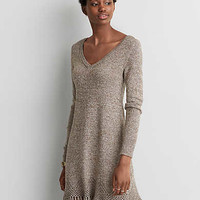 AEO Fringe Sweater Dress, Brown