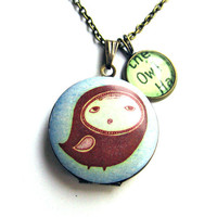 Folk Owl Locket with Green Owl Word Mini Pendant Library Necklace