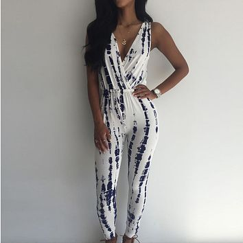Women Jumpsuit Elegant Overalls Jumpsuit Summer Sleeveless Vintage Printed jumpsuit rompers v neck