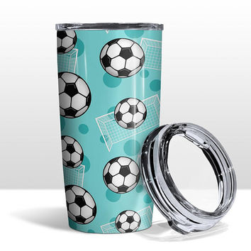 Teal Soccer Tumbler Cup - Soccer Ball and Goal Pattern on Teal - 20oz Insulated with Clear Lid - Hot or Cold Beverages - Made to Order